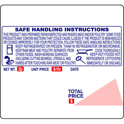 ISHIDA (64mm x 59mm) AC-SERIES, BC-3000, BC-4000 UPC, Safe Handling scale labels