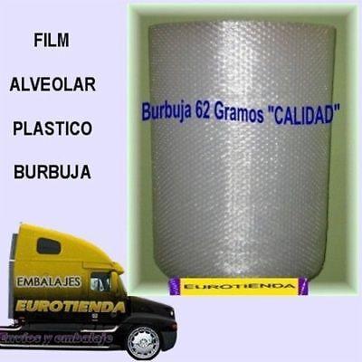 2 ROLLOS BOBINA PLASTICO BURBUJA 0,60X50m PLASTICO BURBUJA GRAMAJE CALIDAD 62 Gr