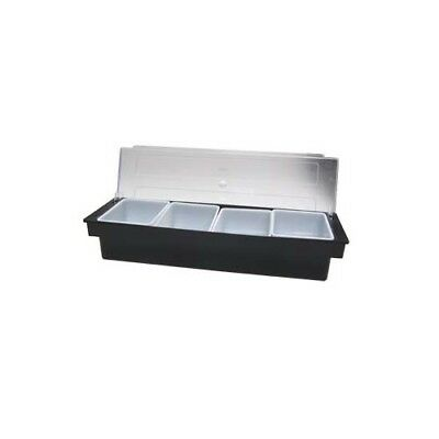 Adcraft Dcd-4bk Plastic 4 Compartment Condiment Caddy Bar Dispenser With Lid