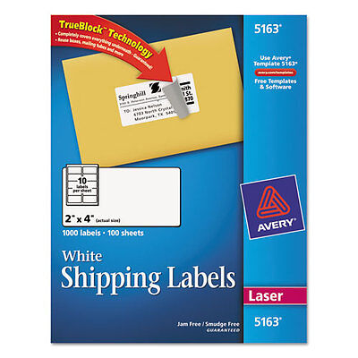 Avery Shipping Address Labels Laser Printers 1000 Labels 2x4 Labels 5163