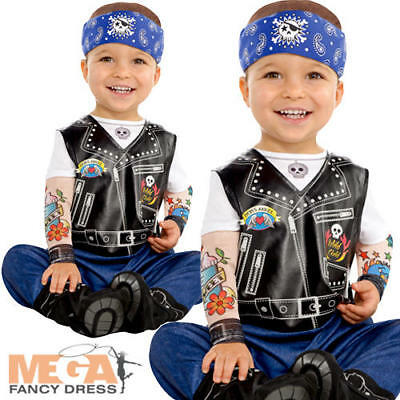 Baby Biker Boys Fancy Dress Gangster Gang Punk Toddler Infant Costume Outfit New