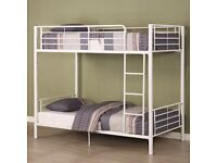 AMAZING OFFER! SOLID AND STURDY BRAND NEW STANDARD SINGLE 3FT METAL BUNK BED AND MATTRESS RANGE