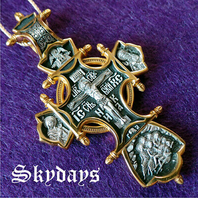 Details about  /14k Two Tone Gold Eastern Orthodox Cross with Jesus Christ Crucifix Pendant