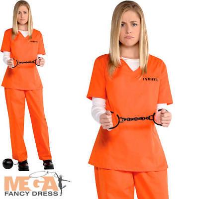 Orange Prisoner Ladies Fancy Dress Inmate Criminal Convict Womens Adults Costume (Womens Orange Convict Costume)