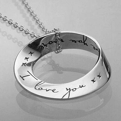 GENUINE Sterling Silver I Love You More Eternity Circle Mobius Pendant- Gift -