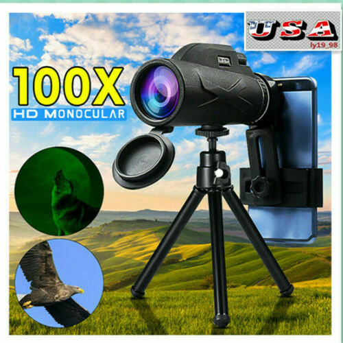80X100 Zoom Portable Prism HD Optical Monocular Telescope with Phone Clip Tripod