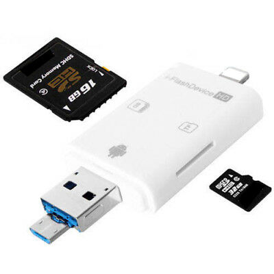 3in1 SD TF OTG Card Reader for iPhone 6 7 8 Plus X Samsung Galaxy Note 5 S7 S6