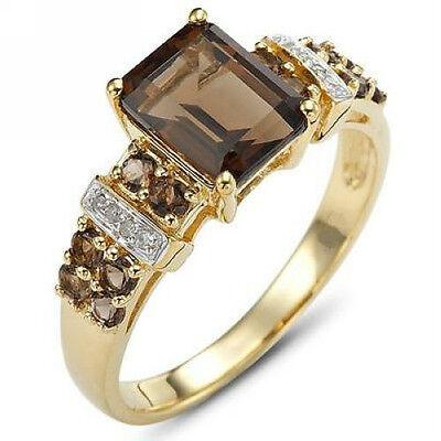 Size 6-11 Fashion Womens Brown Tanzanite 18K Gold Filled New Wedding Ring Gift