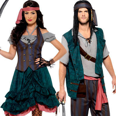 Pirate Couple Adults Fancy Dress Caribbean World Book Day Sea Captain - Couples Pirate Costume