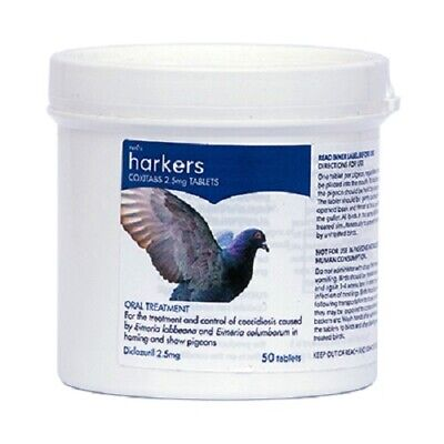 Harkers Coxitabs Coccidiosis Treatment Control for Pigeons 2.5mg 50 Tablets