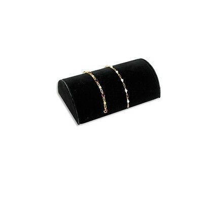 Countertop Black Velvet Half Moon Multi Bracelet Jewelry Display Ramp Stand