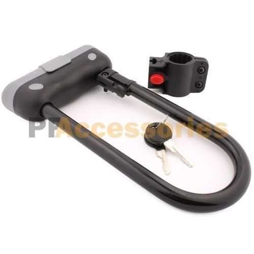 """9.5"""" x 4"""" inch Heavy Duty Steel Bike U Lock Bicycle Cycling with Bracket 2 Keys"""