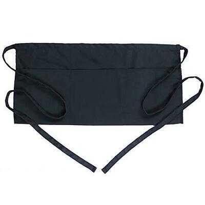 Boharers Waist Apron With 3 Pockets - Black Waitress Waiter Server 1 Pack Black