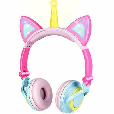 Unicorn Kids Cat Ear Headphones for Girls Boys Toddlers Tablet School Supply