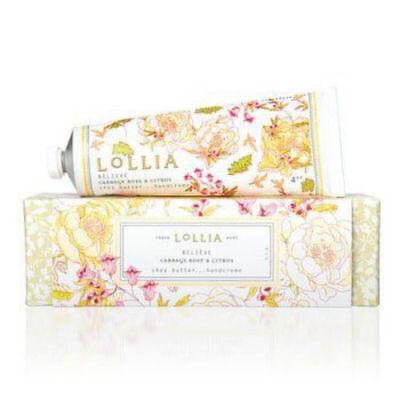 Lollia Believe Cabbage Rose & Citrus Shea Butter Hand Creme 4 oz Full Size NIB