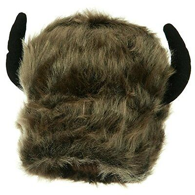 Furry Buffalo Bison Lodge Winter Novelty Costume Hat With Horns Adult Tailgate - Adult Furries