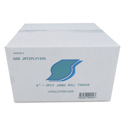 GEN Jumbo Bath Tissue 2-Ply White 9 in Diameter 12/Carton JRT2PLY1000