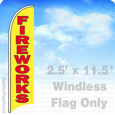 Fireworks - Windless Swooper Flag Feather Banner Sign 2.5x11.5 - Yb