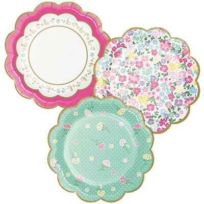 FLORAL TEA PARTY SMALL SCALLOPED PAPER PLATES (8) ~ Birthday Supplies Dessert ()