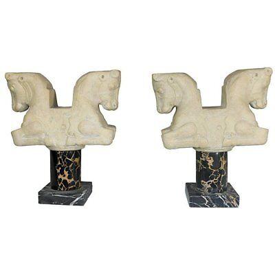 Vintage 'Louvre' Paris Classical Statues Bookend Horses on Marble Pedestal