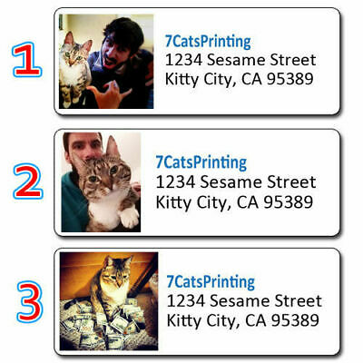 Pet Photo Address Labels Cat Or Dog Any Picture Custom Printing Personalized