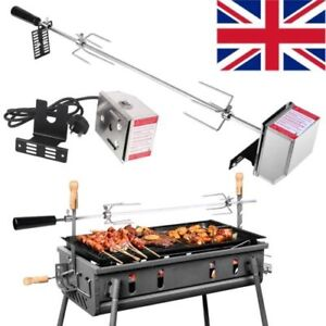 Electric BBQ Universal Rotisserie Spit Kit Skewer Grill Roast Meat with Motor UK