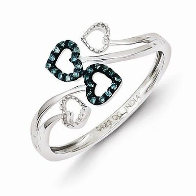 STERLING SILVER BLUE & WHITE DIAMOND MULTI HEART FREE FORM RING - SIZE 6