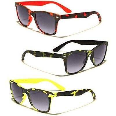 Camo Print Men Sunglasses Retro 80s Designer Glasses Cheap Khaki Green (Designer Glasses For Men Cheap)