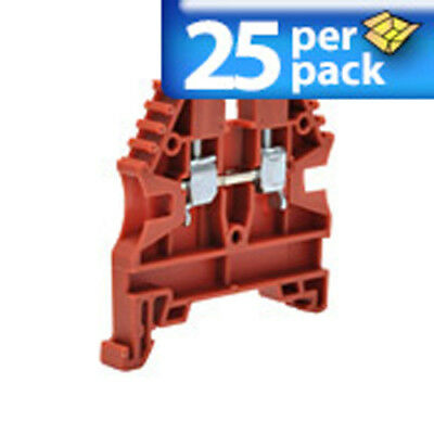 Din Rail Terminal Block Cts6u - Red Rail Mount - Lot Of 25