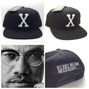 e801622727f Black Malcolm X By Any Means Necessary Snapback Hat