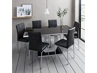 Beautiful Set of 6 Black Dining Chairs By Laura James