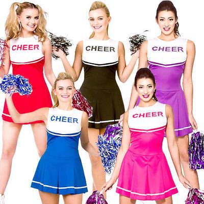High School Cheerleader Ladies Fancy Dress Sports Uniform Womens Costume - Sport Fancy Dress Kostüm