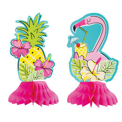 LUAU Pineapples and Flamingos MINI HONEYCOMB CENTERPIECES (4) ~Birthday Supplies - Luau Supplies