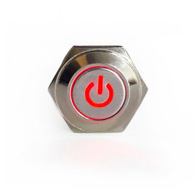 16mm 12v Red Led Lighted Push Button Metal On-off Switch For Car Boat Motor Us
