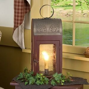 ... -Lantern-in-Sturbridge-Red-Primitive-Colonial-Table-Lamp-Accent-Light