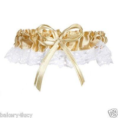 NEW SATIN & LACE GOLD RIBBON & BOW BRIDE'S WEDDING BRIDAL GARTER TOSS Ribbon Wedding Garter