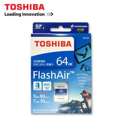 64GB Toshiba SD SDHC SDXC Secure Digital Memory Card Wireless Wifi FlashAir W-04 usato  Spedire a Italy