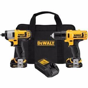 dewalt DCK211S2r combo 12 volts lithium drill/impact neufff