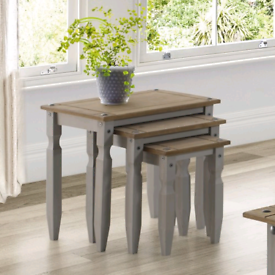 Nest of grey wax tables. Free uk delivery
