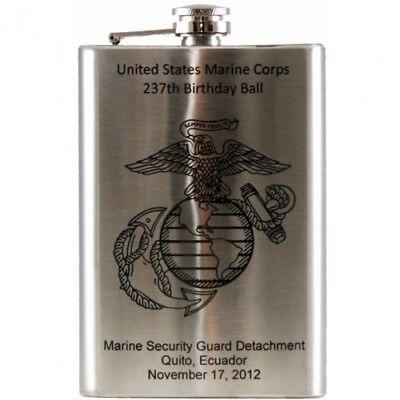 Laser Engraved 8 oz Stainless Steel Hip Flask