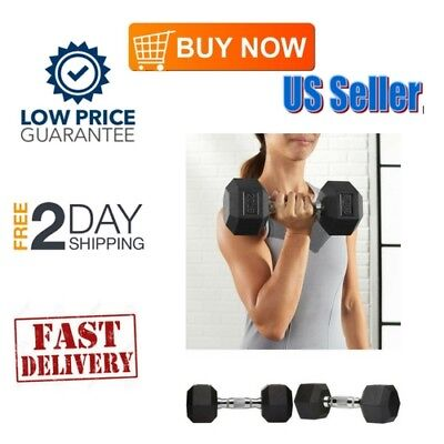 Single 15 Lbs Pound Knurled Bar Grip Rubber Encased Hex Dumbbell Strength& -