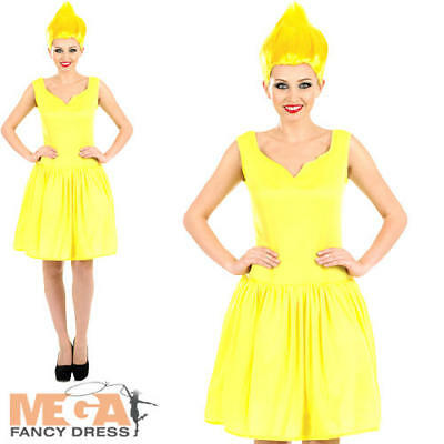 Yellow Pixie + Wig Ladies Fancy Dress Fairytale Troll Gnome Adult Womens Costume