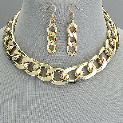 Gold Cuban Link Thick Urban Chain Choker Style Necklace With Earrings ()