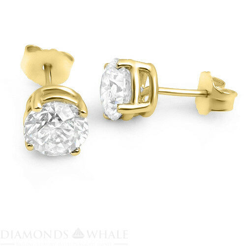 0.9 Ct Gold Round Vs1/f Stud Diamond Earrings Wedding 14k Yellow, Enhanced