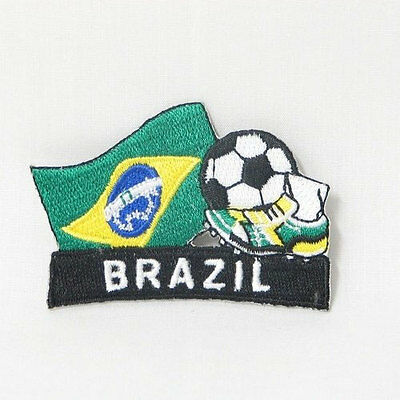 BRASIL SOCCER FOOTBALL KICK COUNTRY FLAG EMBROIDERED IRON-ON PATCH CREST BADGE Brazil Country Flag