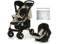 HAUCK SHOPPER SHOP N DRIVE TRAVEL SYSTEM PRAM PUSHCHAIR IN ALMOND BEIGE & BLACK CAR SEAT