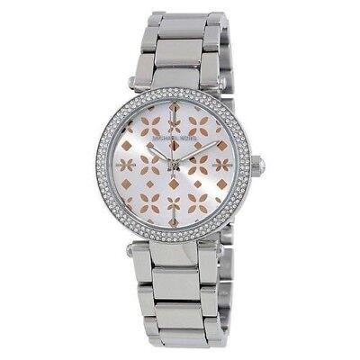 25f31075857f Michael Kors Women s MK6483 Mini Parker 33 mm Floral Cutout Pink Dial Watch