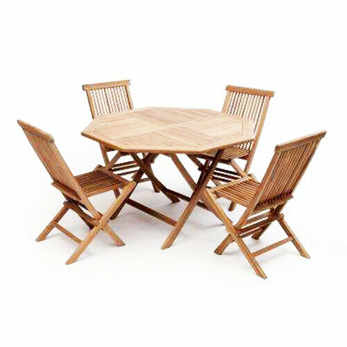 Garden Furniture - EX HIRE Teak Wooden Garden Furniture Sets, 4 Chairs and 1 Table,