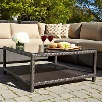 Retail $350 Frontenac Chat Aluminum Wicker Patio Table, NEW