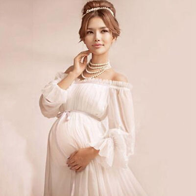 White Elegant lace Maternity dress Photography Props Long dress for baby shower